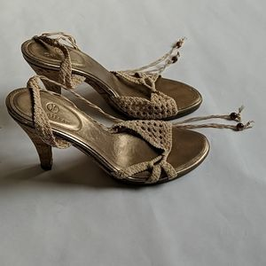 Cole Haan lace up braided heels / sandals